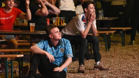 Fans at The Arena in Sprowston watching the England v Italy penalties for the Euros final. Picture: