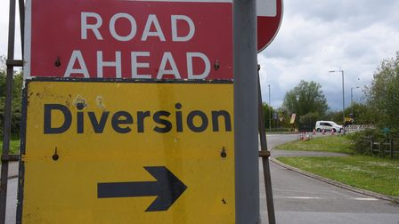 The A11 south road closed signs and barriers at the Attleborough Road and Blackthorn Road junction i