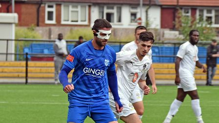 The man behind the mask is Jay Leader of Barking against Romford at Mayesbrook Park