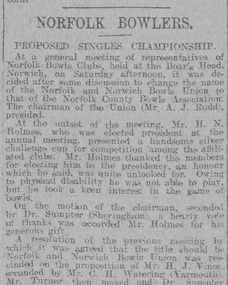 Newspaper clipping from the EDP archive announcing the newly-named Norfolk County Bowls Association in 1922