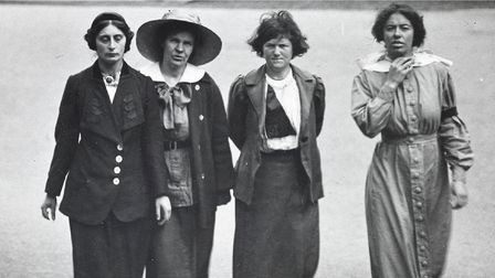 Suffragettes in the prison yard in 1913.