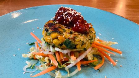 Sweetcorn and courgette fritter with chilli jam at Woodlands restaurant, Bury St Edmunds