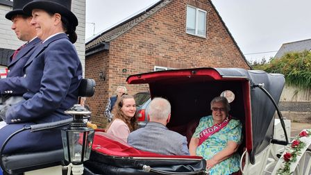 Lily Risley of Sudbury rode with her Kevin and granddaughter, Sheryl, on her 90th-birthday carriage ride