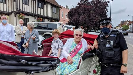 Police helped to ensure Lily Risley's 90th-birthday carriage ride went smoothly