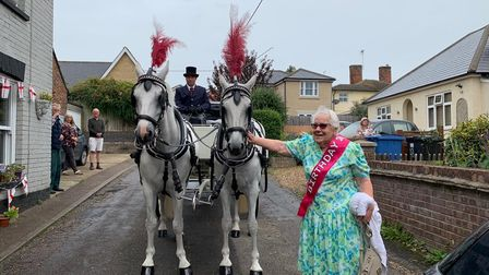 Lily Risley with the horses that drew her birthday carriage