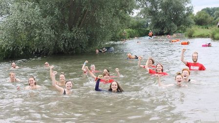 ACORN members got into the water at around 12:00pm to take part in the swim whilst being watched over by a lifeguard.