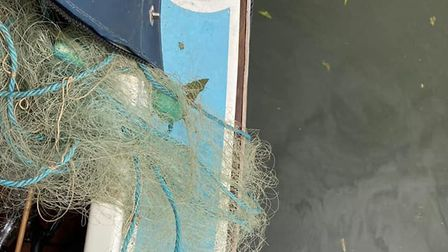 An illegal gill net was recovered from the River Great Ouse near Elyafter it became entangled in the propeller of a boat.