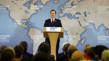 Prime Minister David Cameron delivers a speech on EU renegotiation, at Chatham House in London. PRES