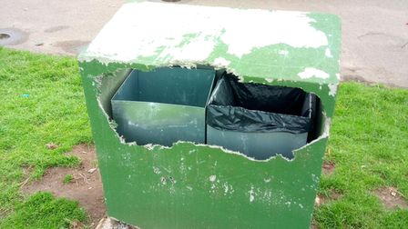 A concrete bin in Millennium Park appears to have been damaged after being found by the council's groundsmen