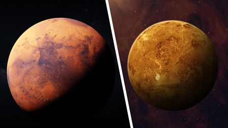 View of planet Venus from space. Space, nebula and planet Venus. ----- Elements of this image furnis
