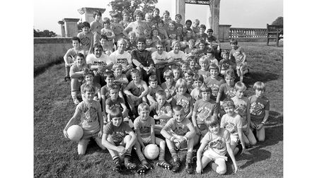 Mick McNeil (centre in dark shirt) at his Soccer Camp at Orwell Park Sch