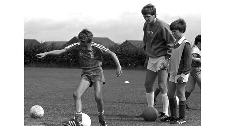 Ipswich Town star Trevor Whymark leading a soccer school at Stowmarket in July 1986