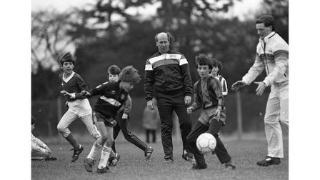 Sir Bobby Charlton during a soccer school session at Thurleston School in Ipswich in 1985