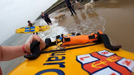 The RNLI lifeguard team at Sea Palling rescued Rosa the Golden Retriever after she swam out to sea