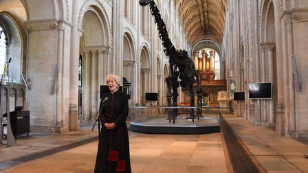 The Dean of Norwich, the Very Rev Jane Hedges welcomes Dippy the Diplodocus to the nave of the Norwi