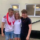 Catherine Beane (centre) owner of The Rampant Horse Inn, with her two sons Ben & Riley.
