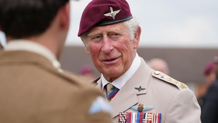 The Prince of Wales during a ceremony to present new colours to the Parachute Regiment at Merville B