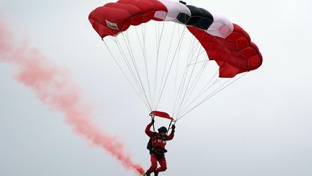 The Red Devils, the Parachute Regiment's parachute display team, during a ceremony to present new co