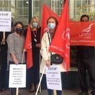 Tower Hamlets Council staff on strike this week outsidetown hall