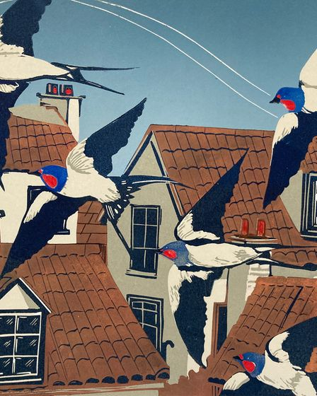 One of Sue's printed works, featuring swallows