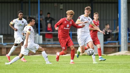 Josh Martin, on loan to MK Dons from Norwich City, in action at The Walks