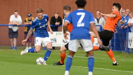 Teddy Bishop with a first half chance at Bury Town