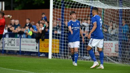 Cameron Humphreys says thanks for the assist to Kayden Jackson after giving Ipswich a first half lea