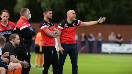 Bury Town Manager Ben Chenery urges his player on against Ipswich