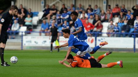 Nico Valentine is upended at Bury Town