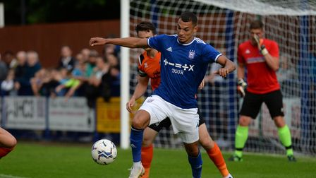 Kayden Jackson holds up the ball at Bury Town