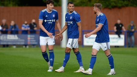 Kayden Jackson is all smiles after an assist for IpswichÕs opener at Bury Town