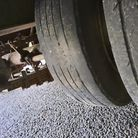 These were the defective tyres found on a 20-ton trailer on the A47 on Tuesday, July 13.