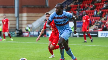 West Ham United's Michail Antonio in action during the pre-season match at The Breyer Group Stadium,