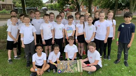 Malorie Class, Dereham Church of England Junior Academy with their winning well-dressing picture