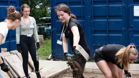 Students from Farlingaye High School took part in a community work day at Jetty Lane in Woodbridge.