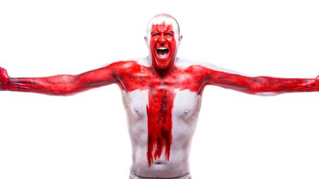 Ian Odgers in full England body paint ahead of tomorrow's final.