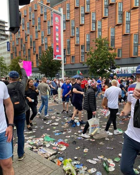 A photo taken by Ian Odgers on Sunday outside Wembley