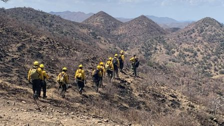 Firefighters head to tackle the Alamo Fire west of Nogales, Arizona. Photo Inciweb