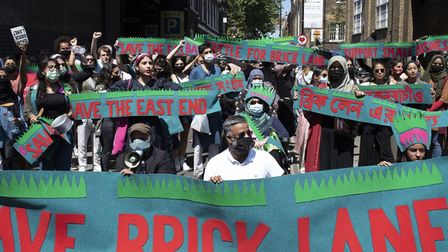 """One of many protests this summer to """"save Brick Lane"""" from commercial developers"""