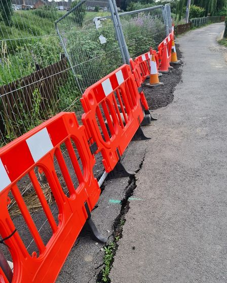 A temporary barrier in place in Nene Parade, March.