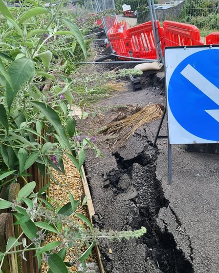 Sink holes remain in Nene Parade, March where some of the road could collapse