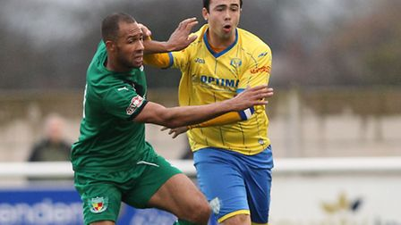 Sam Gaughran, right, scored Lynn's goal during their defeat last time out against Nantwich. Pictures