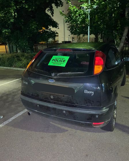 The Ford Focus seized by police after it was driven without insurance.
