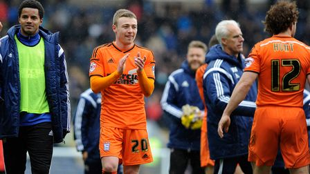 Muted celebrattions from Freddie Sears and the Town players at the final whistle at Ewood Park