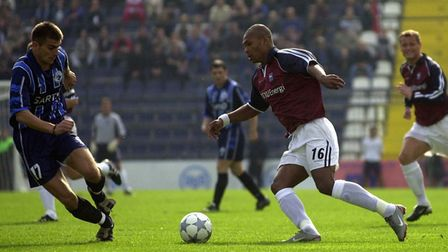 Marcus Bent in action against FK Sartid in the UEFA Cup