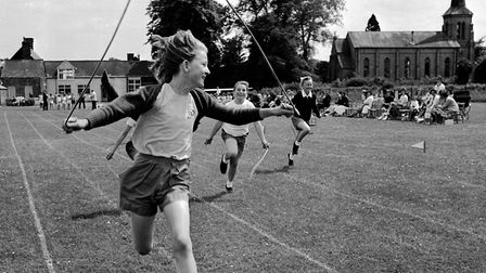A skipping race at Stowupland School in 1964.The skipping race at Stowupland School