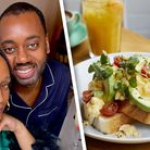 Man and woman in the pyjamas alongside picture of brunch and orange juice