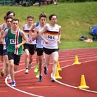 Anglian Schools Athletics Championships at the UEA Sportspark. Jack White (56A) leading the 1500m.