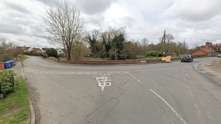 A two vehicle crash has left a junction in Monks Eliegh closed