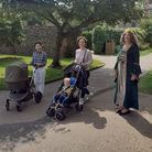 Mistress Margaret with visitors in the Abbey Gardens.